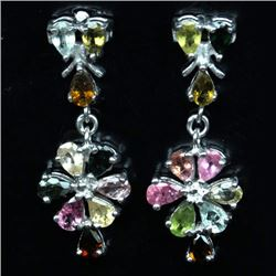 PAIR OF WHITE GOLD OVER STERLING SILVER TOURMALINE EARRINGS