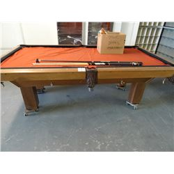 Slate Pool Table w/Harley Cues & Accessories - Needs Recover and pocket leather repairs.