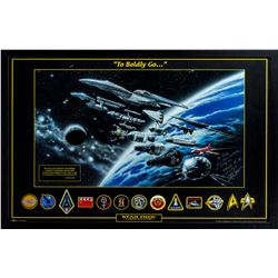 "John Eaves Star Trek 2001 Lithograph ""To Boldly Go..."" Signed by Eaves to Producer Bob Justman"