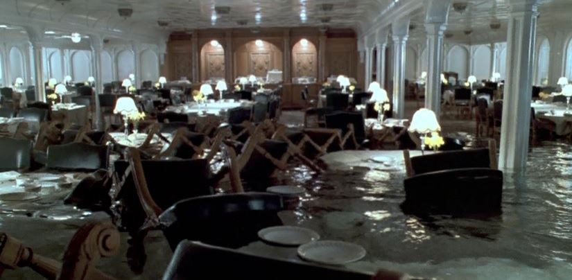 titanic 1997 movie production used dining room set wallpaper prop