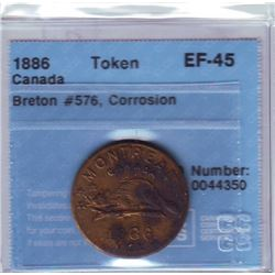 Breton # 576 CCCS EF-45; Corrosion Montreal 1886, L. A. Cardinal Numismatist, Brass.
