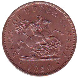 Breton # 719, Charlton # PC-6A2 1850 Penny Bank of Upper Canada, With Dot, CCCS MS-64; Red & Brown.