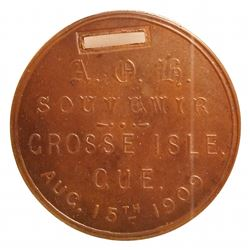 Medal; 1909 Grosse Isle, Québec. With rectangular hole for ribbon, CCCS MS-63. Bowman 1814a, only on