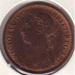 Great Britain; Farthing 1881H in AU-50 some Red remaining.