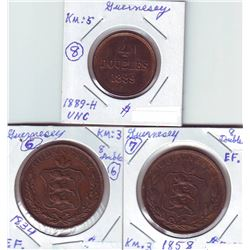 Guernsey; 1834, 1858 8 Doubles and 1889H 4 Doubles.  Three coins EF-UNC.