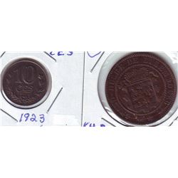 Luxembourg; 10 Centimes 1860A in VF+ and 1923 in AU. Lot of 2 coins.