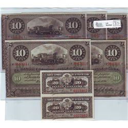 Cuba; 20 Centavos note 1897, Pick # 53a, serial 0223462 & 0223463 ( 2 attached note ) and 10 Pesos n