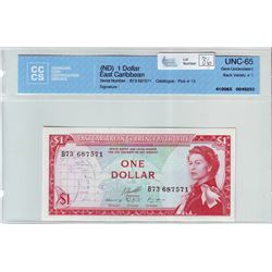 East Caribbean; $1.00 note ND (1965), CCCS UNC-65, Pick # 13, serial B73 687571.
