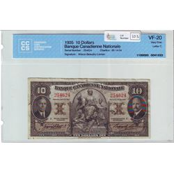 Banque Canadienne Nationale, 85-14-04, 1935, $10.00 note, Wilson-Beaudry Leman, serial 254624, CCCS