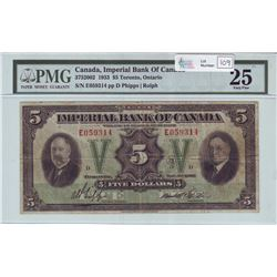 Imperial Bank of Commerce, 375-20-02, 1933, $5.00 note, Phipps Rolph, serial E059314, PMG VF-25.