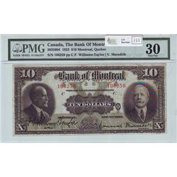 The Bank of Montreal, 505-56-04, 1923, $10.00 note, Williams-Taylor Meredith, serial 106259, PMG VF-