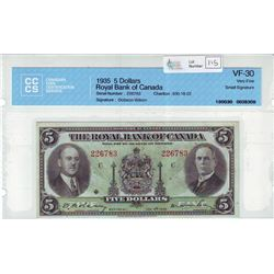 The Royal Bank of Canada, 630-18-02, 1935, $5.00 note, Dobson Wilson, serial 226783, CCCS VF-30, Sma
