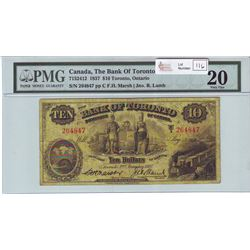The Bank of Toronto, 715-24-12, 1937, $10.00 note, Marsh Lamb, serial 264847, PMG VF-20.