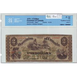 Dominion of Canada; $2.00 note 1870, DC-3b, serial 139847, Payable at Toronto, Letter C, CCCS F-12,
