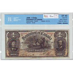 Dominion of Canada; $1.00 note 1898, DC-13c, serial 362282, ONE,s Outward, Letter A, CCCS EF-40.