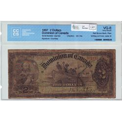 Dominion of Canada; $2.00 note 1897, DC-14a, serial 002193, Red Brown Back, Plain, Letter B, CCCS VG