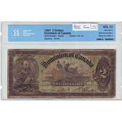 Dominion of Canada; $2.00 note 1897, DC-14c, serial 443438, Dark Brown Back, Series D, Letter C, CCC