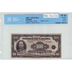 Bank of Canada; $100.00 note 1935, BC-16, Osborne Towers, serial F03368, CCCS VF-30.