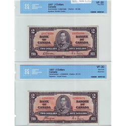 Bank of Canada; $2.00 note 1937, BC-22b, serial X/B8974990, CCCS VF-30 & BC-22c, serial L/R2803878,
