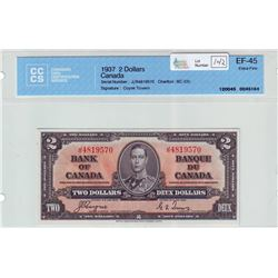 Bank of Canada; $2.00 note 1937, BC-22c, serial J/R4819570, CCCS EF-45.