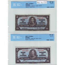 Bank of Canada; $5.00 note 1937, BC-23b, serial L/C4061115, CCCS VF-30 & BC-23c, serial D/S5911909,