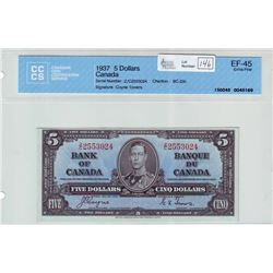 Bank of Canada; $5.00 note 1937, BC-23c, serial Z/C2553024, CCCS EF-45.