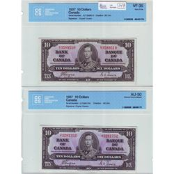 Bank of Canada; $10.00 note 1937, BC-24c, serial K/T3589510, CCCS VF-35 & BC-24c, serial J/T3281752,