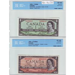 Bank of Canada; $1.00 Devil's Face note 1954, BC-29b, Beattie Coyne, serial M/A4289610, CCCS EF-45 &