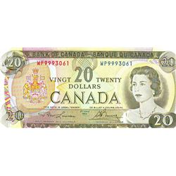 Bank of Canada; $20.00 note 1969, BC-50b, serial WP9993061, Choice UNC-63.