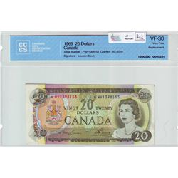 Bank of Canada; $20.00 Replacement note 1969, BC-50bA, serial *WV1398153, CCCS VF-30.