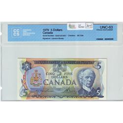 Bank of Canada; $5.00 note 1979, BC-53a, serial 30021251957, CCCS UNC-63.
