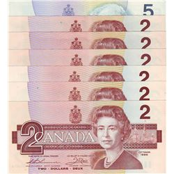 Bank of Canada; $2.00 notes 1986, BC-55b, Thiessen Crow, EGD x 3, BUG, BUK & BUC, Gem UNC. $5.00 not