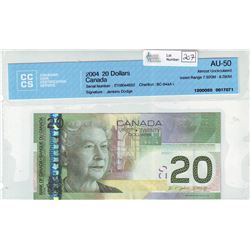 Bank of Canada; $20.00 note 2004, BC-64aA-i, Jenkins Dodge, serial EYI8044652, Insert Range 7.920M -