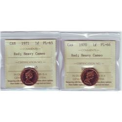 1 cent 1970 PL-66 and 1971 PL-65, both ICCS;  Red with Heavy Cameo.  Lot of 2 coins.