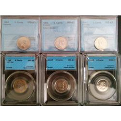 5 cents 1963 MS-63, 1965 MS-63; Small Beads, 1967 MS-63, 1992 MS-63, 2004P MS-64 & 2005P MS-64, all