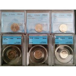 5 cents 1963 MS-62, 1965 MS-63; Small Beads, 1967 MS-64, 1992 MS-64, 2004P MS-64 & 2005P MS-65, all