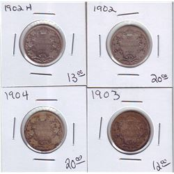 25 cents 1902 & 1902H, 1903 & 1904 in low grade (AG3 to G-4). Lot of 4 coins.