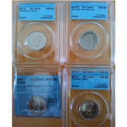 25 cents 2004P First Settlement CCCS MS-65, 2009 Men's Hockey CCCS MS-65, 2012 Tecumseh Frosted CCCS