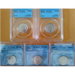 25 cents 2004P First Settlement CCCS MS-65 & MS-66, 2009 Men's Hockey 2 x CCCS MS-64 & Colored Incus