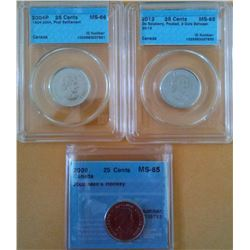 25 cents 2004P First Settlement CCCS MS-66, 2009 Men's Hockey CCCS MS-65 & 2012 De Salaberry Frosted