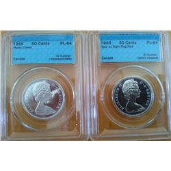 50 cents 1965 CCCS PL-64; Heavy Cameo & 50 cents 1965 CCCS PL-64; Spur on Right Flag Pole. Lot of 2