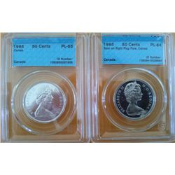 50 cents 1965 CCCS PL-65; Cameo & 50 cents 1965 CCCS PL-64; Spur on Right Flag Pole, Cameo. Lot of 2