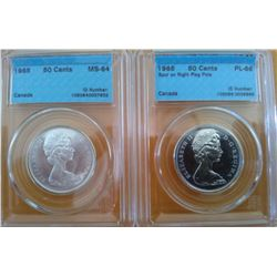 50 cents 1965 CCCS MS-64 & 50 cents 1965 CCCS PL-66; Spur on Right Flag Pole. Lot of 2 coins.