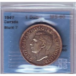 Silver dollar 1947, CCCS MS-60; Blunt 7, light lustrous gold toning on this key date.