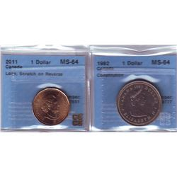 Nickel dollar 1982 Constitution CCCS MS-64 & 2011 Loon CCCS MS-64; Scratch on Reverse. Lot of 2 coin