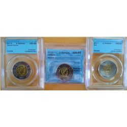2 dollars 2011 MS-64; Bear, 2011 MS-63; TT-200.4 & 2012 MS-65;Security Stamps, all CCCS certified. L