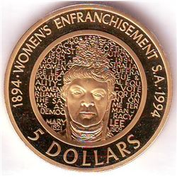 Australia: 5 dollars 1994, Centennial of Woman Enfranchisement, KM # 224a, Proof coin in Aluminum-Br