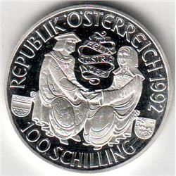 Austria: 100 Schillings 1992, 2 seated figures, Maximillian I, KM # 3003. Proof coin containing 0.52