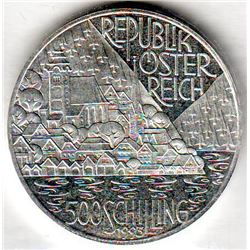 Austria: 500 Schillings 1993, Hallstatt and Lakes Region, KM # 3011. Proof coin containing 0.7125 oz