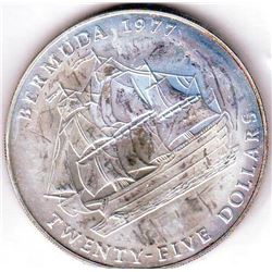 Bermuda: 25 dollars 1977, Queen's Silver Jubilee, KM # 25. Proof coin containing 1.6178 oz ASW.